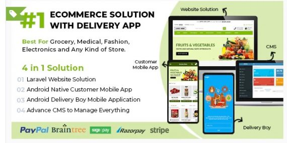 Ecommerce Solution with Delivery App For Grocery, Food, Pharmacy, Any Store / Laravel + Android Apps