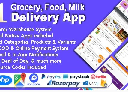 Grocery and Vegetable Delivery Android App with Admin Panel | Multi-Store with 3 Apps