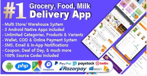 Grocery and Vegetable Delivery Android App with Admin Panel   Multi-Store with 3 Apps