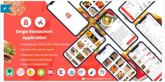 Single Restaurant – Android User & Delivery Boy Apps With Laravel Admin Panel