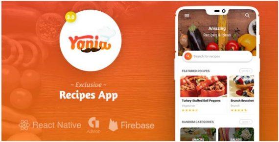 Yonia – Complete React Native Recipes App + Admin Panel