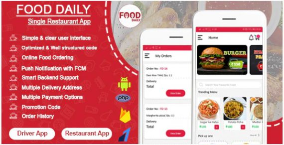 Food Daily – An On Demand Android Food Delivery App, Delivery Boy App and Restaurant App