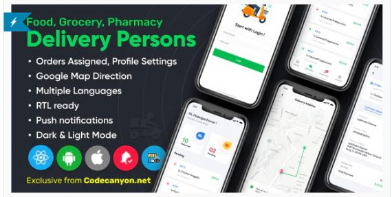 Delivery Person for Food, Grocery, Pharmacy, Stores React Native – WordPress Woocommerce App