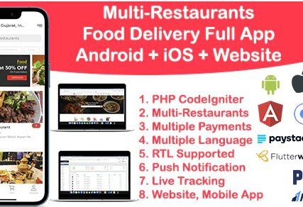 Food Delivery Multi Restaurant Ionic 5 + CodeIgniter (Android + iOS + Website + Admin)
