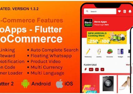 Revo Apps Woocommerce – Flutter E-Commerce Full App Android iOS