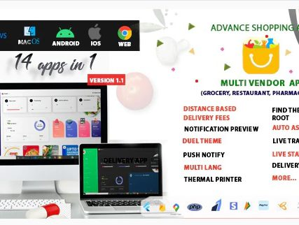 Multi-Vendor – Food, Grocery, Pharmacy & Courier Delivery App | 14 apps